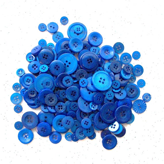 50  Blue Buttons,  Sapphire, Assorted Size Mix Sewing Buttons, Crafting Jewelry Collect (553-)