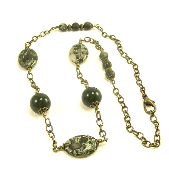 gemstone jewelry necklace green camo and by