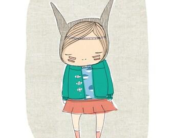 Nursery Art -  Emerald Green -  Little Warrior Girl Bunny -Art Print 8x10 Children's Room - Emerald Green, Aqua
