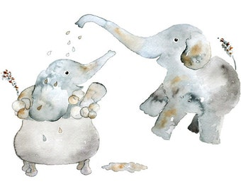 Children's Art, Watercolor, Elephant Bathroom Art, Kids Wall Art, Elephant Nursery Art, Grey, Kids Bathroom Decor