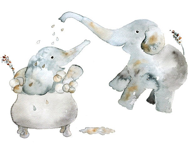 children 39 s art watercolor elephant bathroom art kids. Black Bedroom Furniture Sets. Home Design Ideas