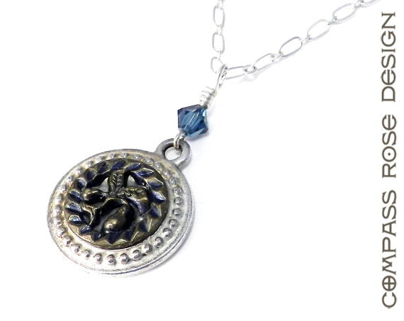Antique Button Necklace - Sweet Summer Pear with Blue Crystal accent Victorian Button Pendant handmade by Compass Rose Design