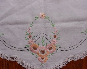 Dresser Scarf Hand Embroidered Antique Table Or Vanity Runner Tatted Lace Edging- Romantic Cottage Antique