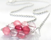 Stacked Beads Necklace, Geometrical Chain Necklace, Large Pink Lucite Crystal Beads, Modern Necklace, Silver Chain