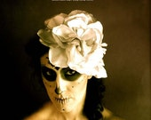Day of the Dead Hair Flower Fascinator  - Large flower headpiece: white silver - Sugar Skull headband