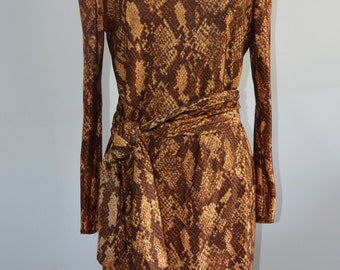 Vintage Snakeskin Print Slim Mid Length Dress w Belt Turban