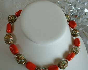 Antique Italian Murano  Bead Necklace Multi Colored Foil Glass Beads with Red Glass FABULOUS Original