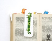 Rainbow cats - cute green cat - handpainted bookmark - small gift under 10 dollars