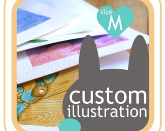 Custom watercolor illustration made to order - your idea made into picture - size M, 8 inch