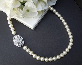 bridal pearl and crystal necklace pearl necklace bridal necklace Statement Bridal necklace Wedding pearl Rhinestone bridal necklace CARMINE