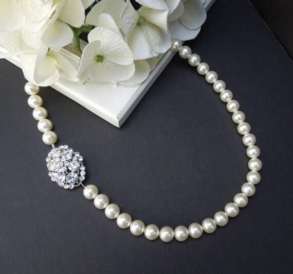 Pearl Necklace,Bridal Necklace,Bridal Pearl Necklace,Swarovski Pearls, Wedding Pearl Necklace, Bridal Rhinestone Necklace,Pearl, CARMINE