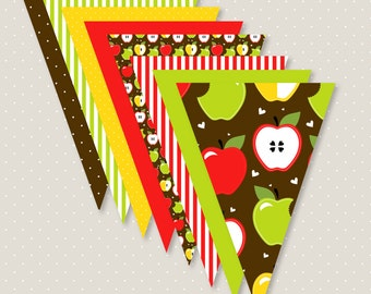 Apple Party PRINTABLE Pendant Garland (INSTANT DOWNLOAD) by Love The Day