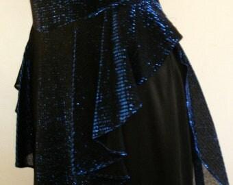 Vintage 80's Midnight Blue Lurex Lamé Peplum Dress / Metallic Shimmery Cocktail Dress