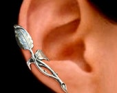 Rose thorn Leaf ear cuff Sterling Silver earrings leaf jewelry leaf earrings Sterling silver ear cuff Small clip for men & women C-066