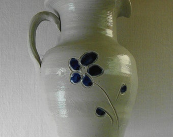 VINTAGE Salt Glaze Pottery Milk Pitcher With Cobalt  Blue Flower - Williamsburg VA