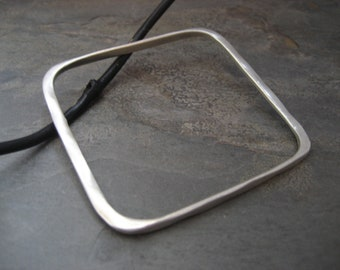 Square asymmetrical bangle - solid sterling silver