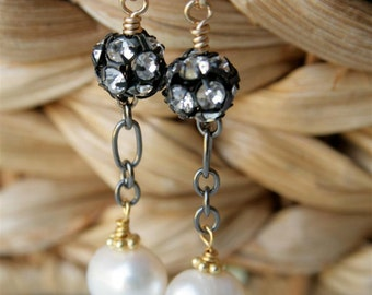 Freshwater Pearl, Rhinestone, Gold Filled and GunMetal Earrings