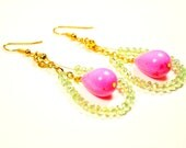 Earrings with pear shaped hot pink beads and round mint-green crystal beads : Jewelry approximately 3 inches long