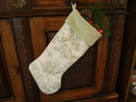 Shabby chic toile christmas stocking with by moondancetextiles for Toile shabby chic