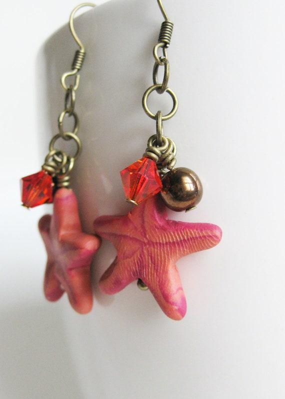 50% OFF SALE! Red Starfish Earrings. Polymer clay earrings. Czech Glass & Swarovski Elements. OOAK. Harvest Reds, Russets, Orange