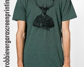 Deerman, Men's / Unisex Small, Medium, Large, X-Large Heather Forest T-Shirt