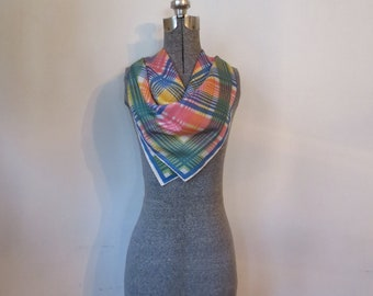 Vintage '60s Exaggerated Plaid, Saturated Pastel Square Scarf