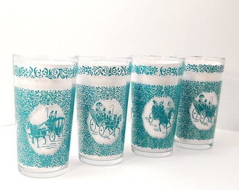 Vintage Teal Victorian Carriage Glasses - SET of 4