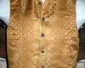 Mans Steampunk Vest English Regency Groom Waistcoat jn Gold Brocade with Brass Buttons