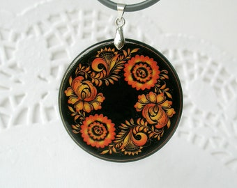 Black And Orange Flower Khokhloma Necklace, Russian Folk Art