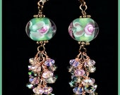 On Sale, Pale Green, Pink and White Crystal, Cluster, Lampwork Antique Copper Earrings