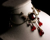 Blood Red Victorian Bridal Choker, Garnet Crystal Drop Steampunk Necklace, Antiqued Brass Filigree Titanic Temptations Vintage Style Jewelry