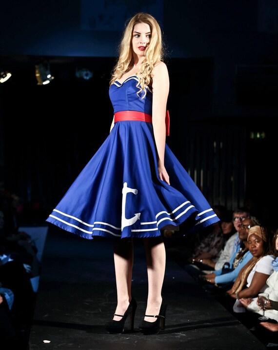 Blue Anchor 50's Dress, cirlce skirt, strapless, vintage, nautical, 1950's