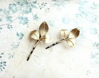 Gold Leaf Bobby Pins Branch Hair Accessories Fall Autumn Raw Brass Woodland Wedding Pair of Golden Leaves Nature Bridal Hair Clip Beach Hair