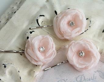 Blush Pink Rhinestone Flower Hairpins - Romantic Wedding Bride - Vintage Inspired Accessories - Bridesmaids Flower girl