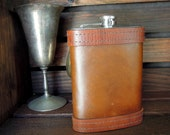 Leather Flask with Rustic Finish - Holiday Gift for Him - jattreasury