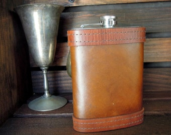 Leather Flask with Rustic Finish - Gift for Him