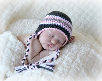 Crochet Baby Stripe Earflap Hat - Newborn to 10 years - Charcoal, Soft Pink, Heather Grey, White - MADE TO ORDER