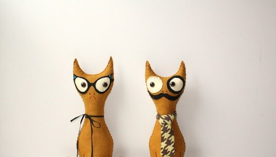 Plush Stuffed Felt Cat, Professor Mustache Cat Pillow, Gold Stuffed Animal