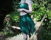 Green Fairy crop top, pure silk vest, Festival tank top, Christmas holiday top, pixie, elf, gypsy hippie clothing