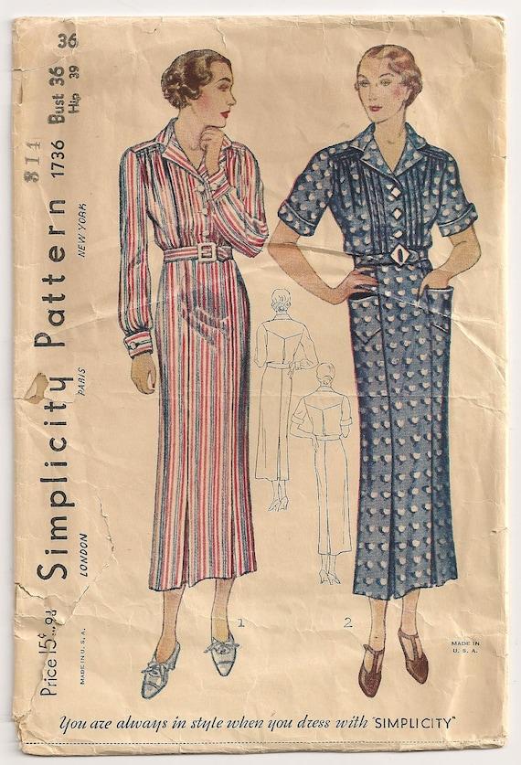SALE - Vintage 1930s Simplicity Sewing Pattern Shirtwaist Day Dress 36 Bust Medium