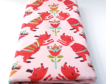 Organic Baby - Organic Cotton Burp Cloths -Pink Fox Print - Set of Two - Eco Friendly - Baby Girl