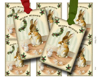 Vintage CHRISTMAS BUNNY Tags Digital Collage Sheet Instant Download for Gift Tags Cards Scrapbooking Paper Crafts GalleryCat CS186