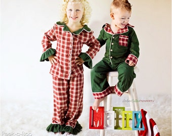 Alex and Anna Winter PJs: Girls Pajamas PDF Pattern Christmas