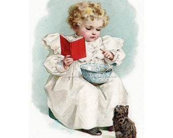 Kitten Girl Card - Teaches Cat to Read - Repro Greeting Card Humphrey