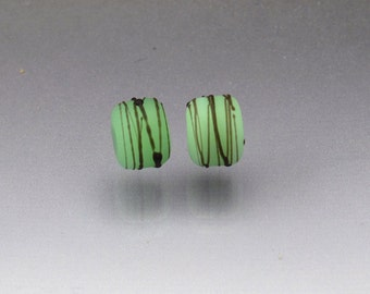 Green lampwork bead pair glass bead pair handmade matte beads Made To ORDER Cocoon beads green and black beads Earring pair Anne Londez SRA