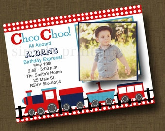 Choo Choo Train Birthday Invitation with Photo Red Blue