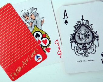 Vintage Deck of Delta Airlines Playing Cards, with Delta Widget Logo, Red Box with Gold Stripes