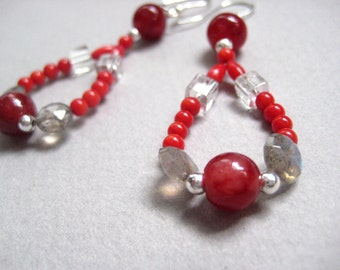 Red jade labradorite coral crystal sterling silver earrings