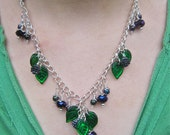 Hedgerow necklace - leafy blackberry necklace - emerald purple