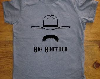 Big Brother Shirt - 6 Colors Available - Kids Big Brother Cowboy Mustache T shirt Sizes 2T, 4T, 6, 8, 10, 12 - Gift Friendly